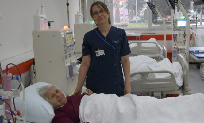 Dialysis patient and nurse